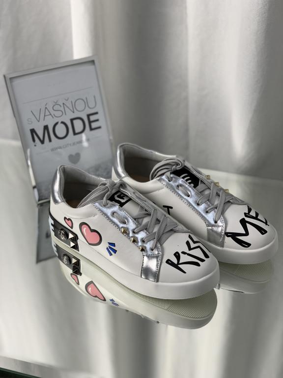 Topánky 302 strieborné