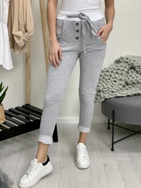 Tepláky fashion šedý patent 64071