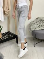 Tepláky fashion šedý patent