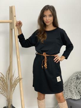 Šaty nad kolená s opaskom dlhý rukáv 12050