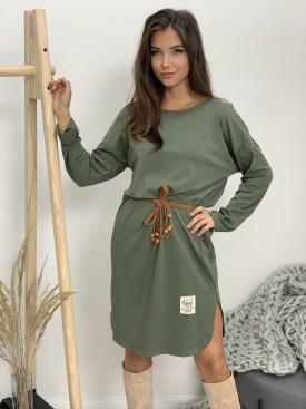 Šaty nad kolená s opaskom dlhý rukáv 120502