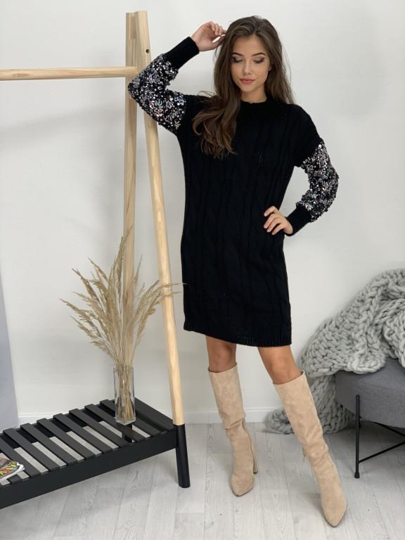 Šaty svetrové flitre