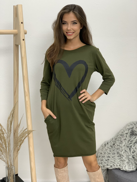 Šaty teplákové srdce dlhý rukáv