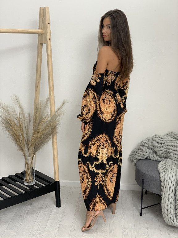 Šaty dlhé na ramená zlatá mandala 1019
