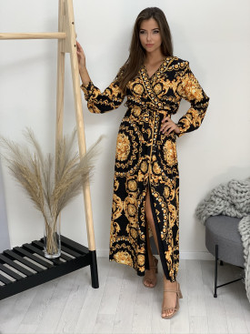 Šaty dlhé zlaté vzory 2526