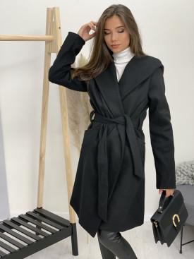 Kabát dlhý s opaskom a kapucňou 6581