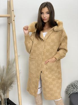 Kabát s kožusinovou kapucňou GG