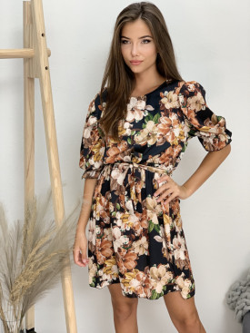 Šaty čierne farebné kvety 3135