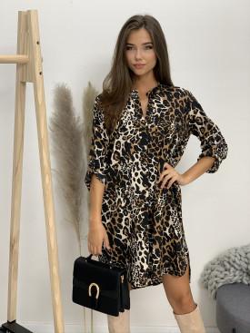 Šaty nad kolená s opaskom gepard 5766