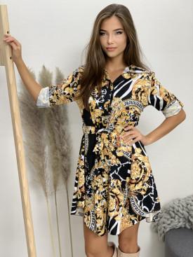 Šaty krátke zlaté vzory 6852