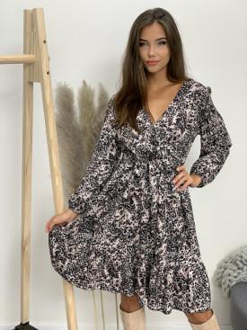Šaty s opaskom leopardí vzor 5349