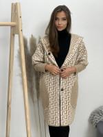 Kabát po kolená na gombíky labyrint