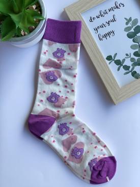Ponožky fialový macko srdiečko
