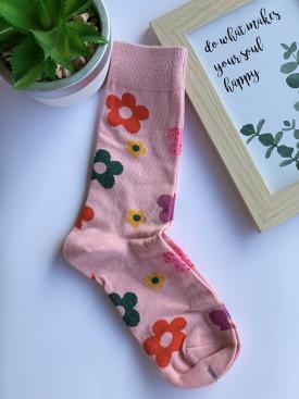 Ponožky kvietky s bodkami