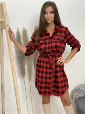 Šaty košeľové káro 3426