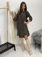 Šaty nad kolená s opaskom hnedé vzory 5766