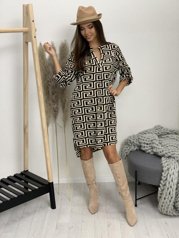 Šaty nad kolená s opaskom labyrint 5766