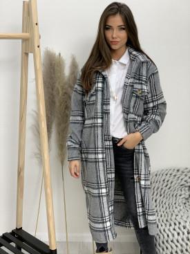 Kabát dlhý károvaný šedá 25159