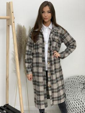 Kabát dlhý károvaný šedá-mentolová 25159