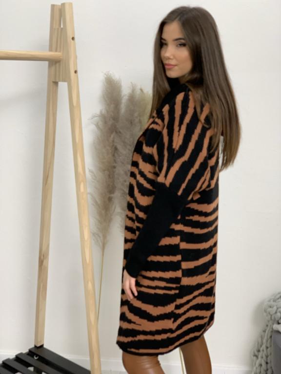Kardigan svetrový s kapucňou zebra 9568