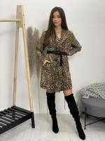 Šaty nad kolená leopardí vzor dlhý rukáv