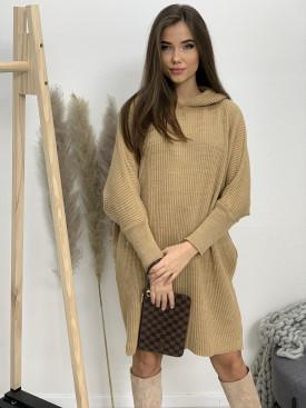 Šaty svetrové s kapucňou