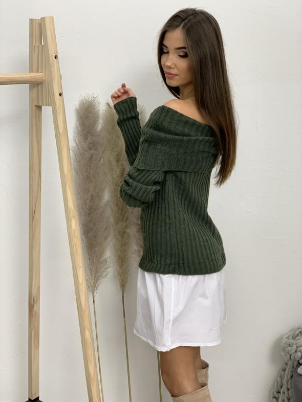 Šaty svetrové na ramená košeľový spodok