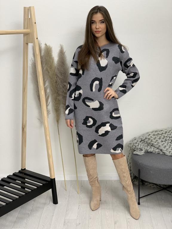 Šaty úpletové leopard 95036
