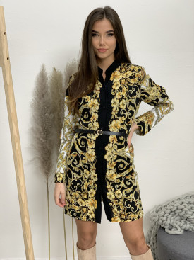 Šaty krátke s opaskom zlaté vzory 1029