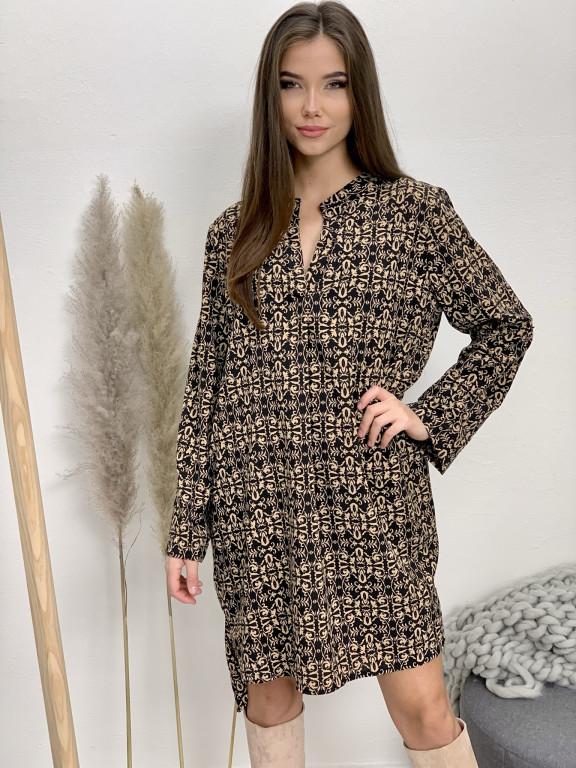 Šaty nad kolená s opaskom bledohnedé vzory 5766