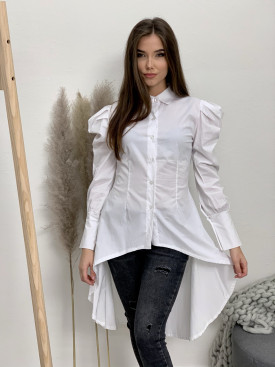 Košeľa biela nariasené ramená 8154