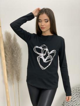 Tričko dlhý rukáv strieborné srdcia