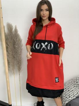 Šaty teplákové s kapucňou XOXO 30878
