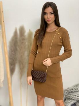 Šaty úpletové zlaté gombíky 80013