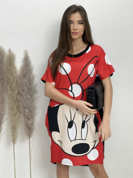Šaty teplákové Minnie červená mašľa bodky