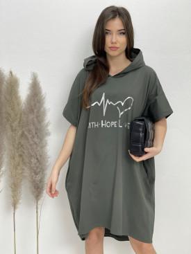 Šaty teplákové s kapucňou PULZ