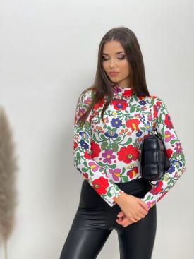 Tričko s kvetmi stojačik