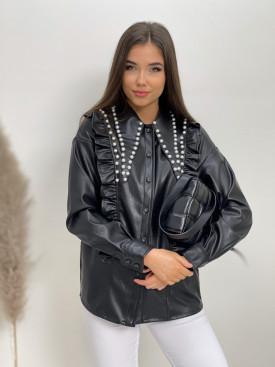 Koženková košeľa s perličkami