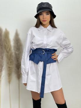Šaty košeľové s rifľovou viazačkou 2716
