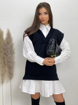 Šaty košeľové nad kolená s vestou 577