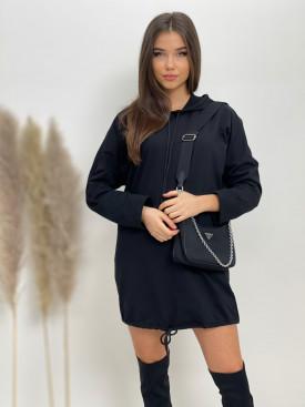 Šaty nad kolená s kapucňou sťahovačka