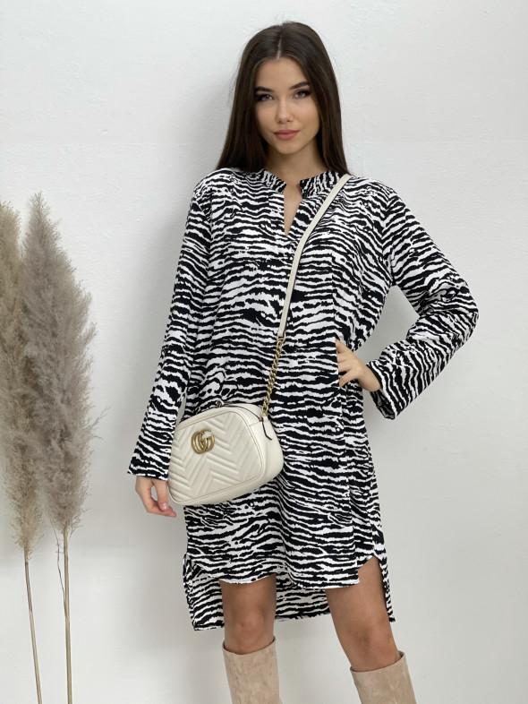 Šaty nad kolena s páskem zebra 5766