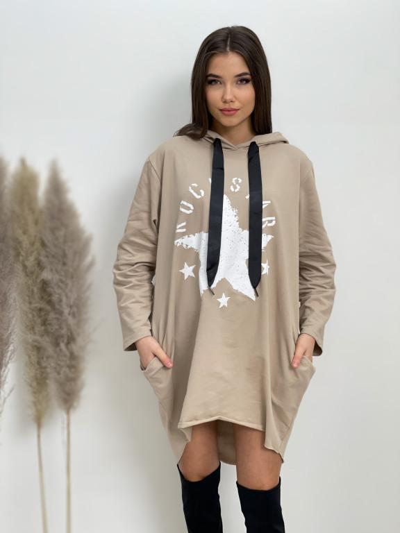 Šaty teplákové s kapucí ROCKSTAR 92160