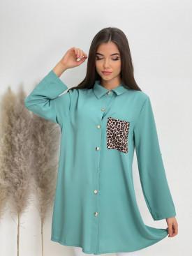 Košeľa dlhá leopardie vrecko 8905