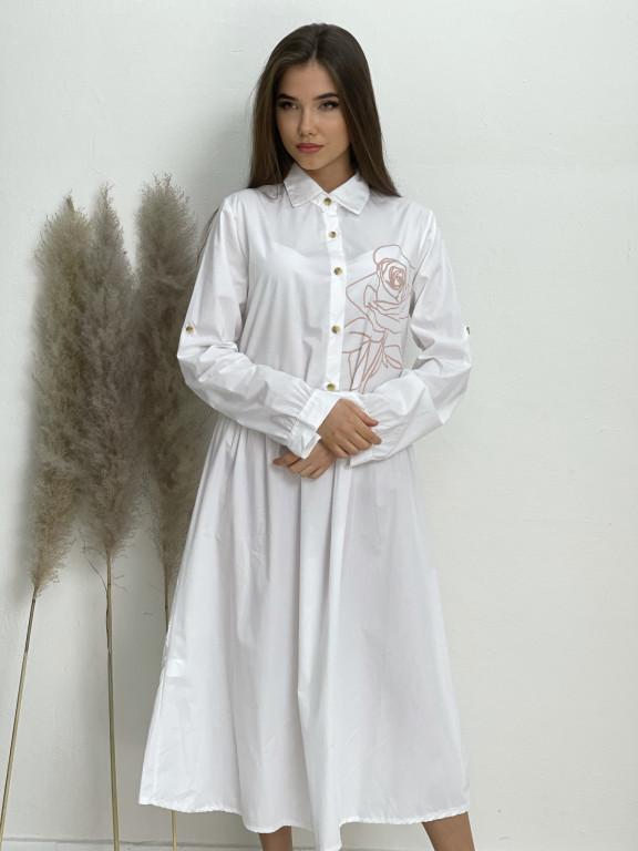 Šaty dlouhé košilové růže 12120