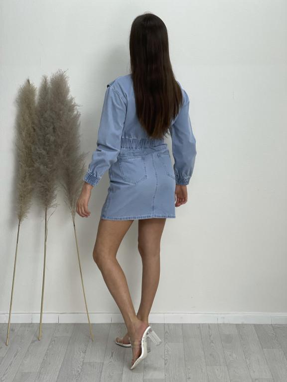 Šaty nad kolena riflové s kytičkami 2003