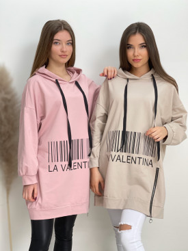 Šaty teplákové s kapucňou VALENTINA 1058