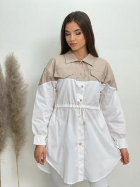 Košeľa s koženkou 1089