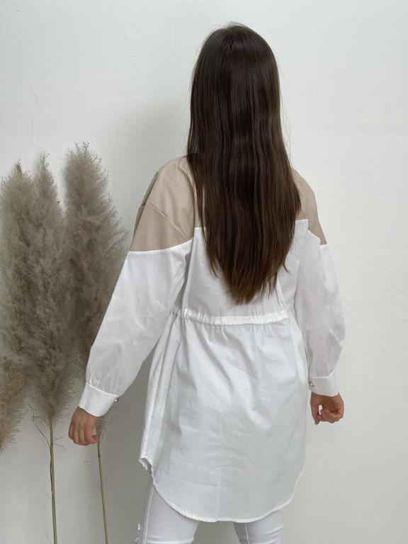 Košile s koženkou 1089