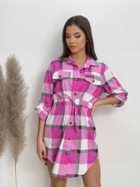 Šaty košilové káro 7760